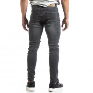 Slim fit мъжки сиви дънки с прокъсвания  2