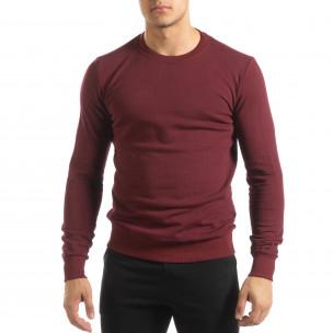Basic мъжка памучна блуза в тъмно червено  2