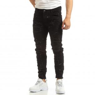 Скъсани мъжки черни дънки с пръски боя