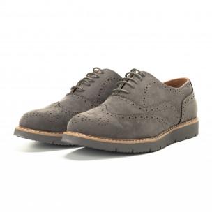 Casual мъжки обувки Wingtip сив велур 2