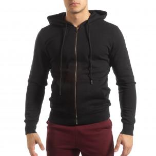 Basic мъжки памучен суичър в черно  2