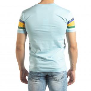 Мъжка синя тениска с цветни райета  2