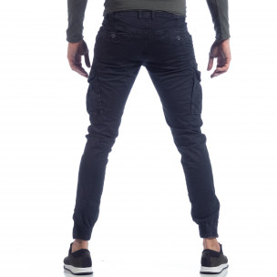 Син карго панталон с ципове на крачолите  2
