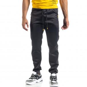 Сив мъжки джогър с принт кант Black Sport  2