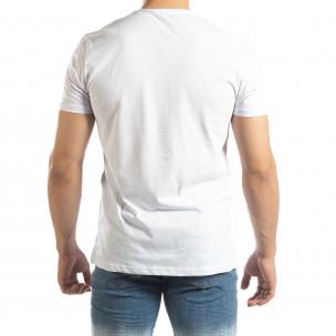 Мъжка бяла тениска с неонови апликации  2