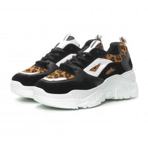 Комбинирани Chunky маратонки в черно и леопард 2