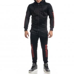 Черен мъжки спортен комплект с червени акценти