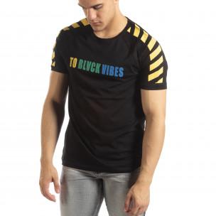 Черна мъжка тениска с реглан ръкав