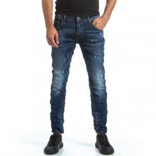 Мъжки намачкани сини дънки с прокъсвания