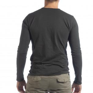 Мъжка блуза V-neck в графитено сиво  2