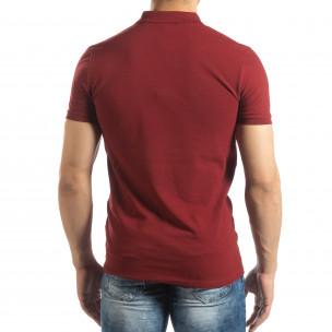Фина мъжка тениска Polo shirt в тъмно червено 2