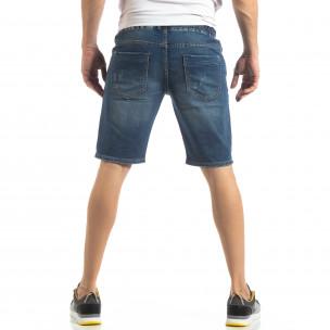 Къси мъжки дънкови шорти в синьо  2