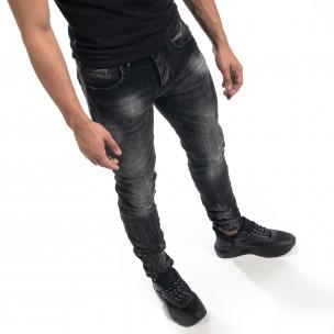 Черни мъжки дънки Washed Slim fit  2