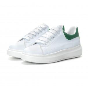 Мъжки бели кецове зелена пета 2