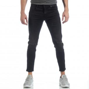 Еластични мъжки дънки Slim fit в черно  2