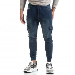 Мъжко синьо долнище тип Cargo Jeans