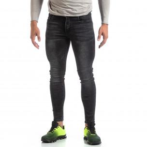 Skinny мъжки черни изтъркани дънки