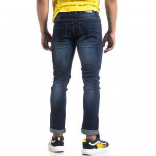 Мъжки изтъркани дънки Slim fit в синьо  2