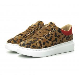Дамски кецове леопард с червена пета 2