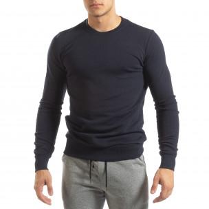 Basic мъжка памучна блуза в тъмно синьо  2