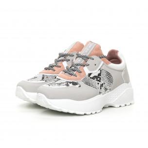 Олекотени дамски маратонки в сиво и розово 2