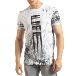 Мъжка бяла тениска LIFE с пикселиран принт