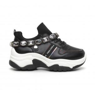 Черни дамски маратонки с камъни 2
