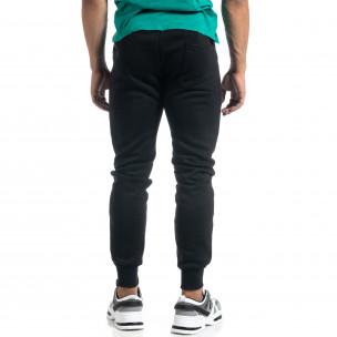 Мъжко черно долнище с апликирани джобове  2