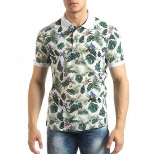 Флорална мъжка тениска с яка в бяло  2