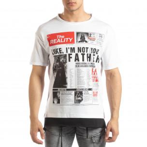 Мъжка бяла тениска Darth Vader