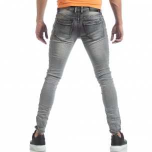 Мъжки Washed Slim Jeans в сиво  2