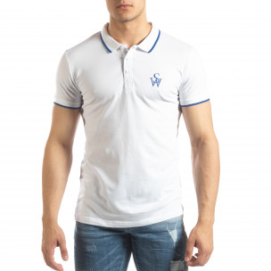Бяла мъжка тениска пике с лого