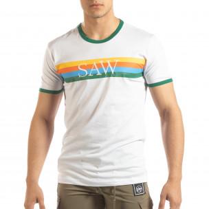 Бяла мъжка тениска зелени биета