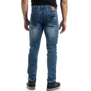 Еластични мъжки сини дънки Jogger  2