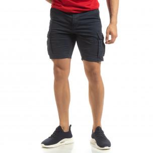 Къси карго панталони в синьо с детайл  2