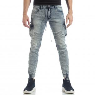 Рокерски мъжки Washed Cargo Jeans  2