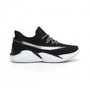 Плетени мъжки черни маратонки с мрежа 2