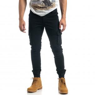 Мъжки рокерски карго панталон в черно  2