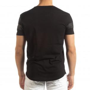 Мъжка удължена тениска в черно 2