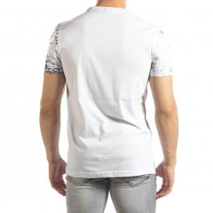 Мъжка бяла тениска LIFE с пикселиран принт  2