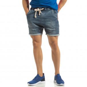 Еластични сини мъжки дънки