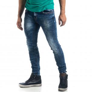 Washed мъжки намачкани сини дънки Slim fit