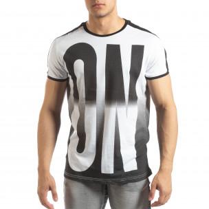 Бяла мъжка тениска ON/OFF с преливане