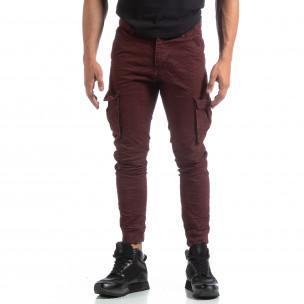 Мъжки намачкан панталон Cargo в бордо  2