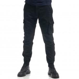 Мъжки черен карго панталон ватиран