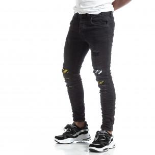 Slim fit мъжки черни дънки с акценти