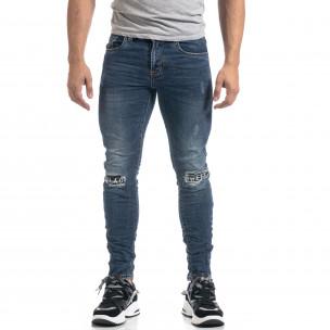 Мъжки сини дънки с кръпки Black-White Slim fit