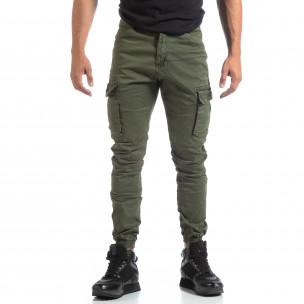Мъжки зелен рокерски панталон с карго джобове  2