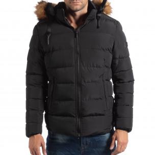 Мъжко яке в черно с пухкава подплата  2