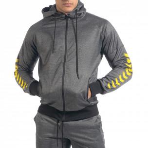 Сив мъжки спортен комплект с жълти акценти 2